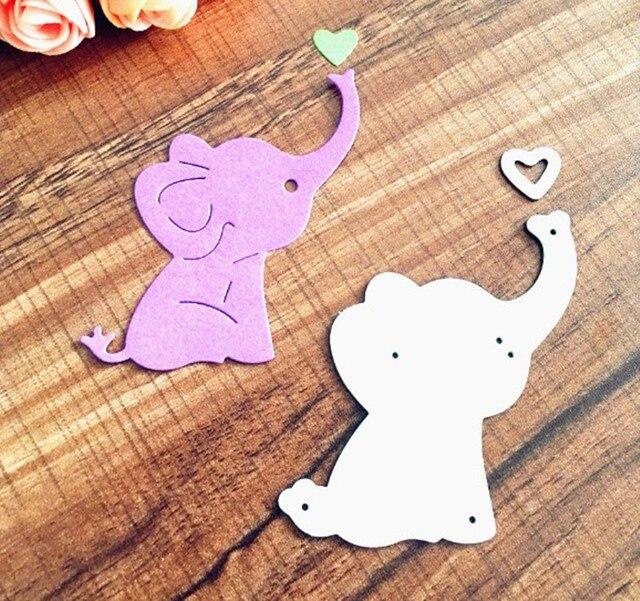 Metal Cutting Dies Baby Elephant Cute Animal Heart Scrapbook Card