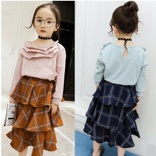 Korean Baby Girl Skirt Long Cake Skirt Princess 2017 Spring Cotton Plaid Vestidos Infantil Leisure Elastic XXL Clothing Set NEW