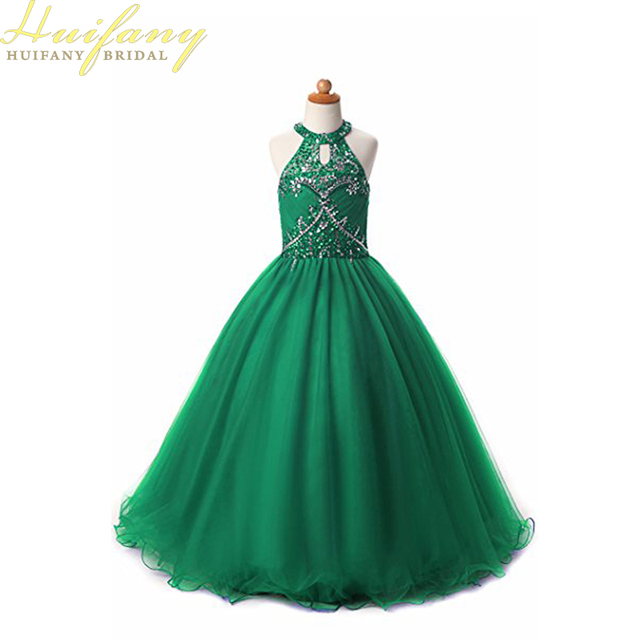 New Arrival Halter Embellished Crystal Beads Long Tulle Green ...