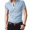 2016 лето мужской рубашка с короткими рукавами/мужской деловой случай сплошной цвет короткие рукава рубашки/мужчины топы бесплатная доставка