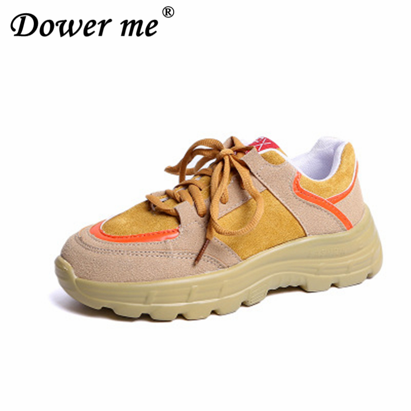 Spring Autumn 2019 Daddy shoes female new Walking shoes Sponge cake Thick bottom Student Genuine leather Leisure Tennis shoes 1