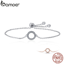 BAMOER Trendy 925 Sterling Silver Glittering Round Circle Chain Link Strand Bracelets for Women Jewelry SCB030