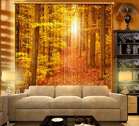 Custom any size 3D Curtain Woods, sunlight, maple leaves Nature personality style photo print 3d curtain Door curtain