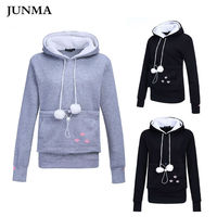 Dog Pet Hoodies Tops Cat Lovers Hoodies With Cuddle Pouch For Casual Kangaroo Pullovers With Ears Sweatshirt XL