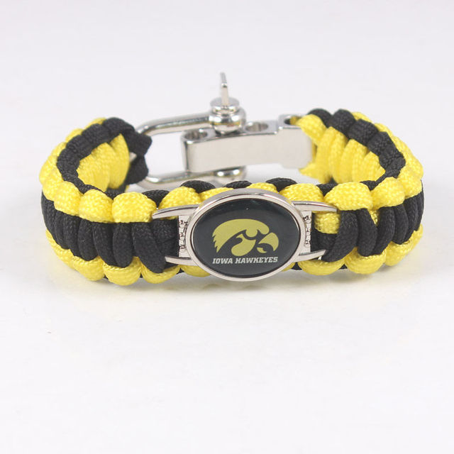 Adjule Size Emergency Survival Paracord Bracelet Iowa Hawkeyes Ncaa Sport Outside Camping Handmade 550 Cord