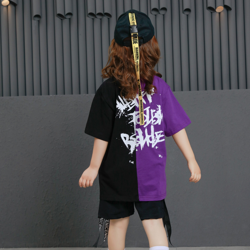 Image 5 - Girls Boys Punk Shirts Purple Hip Hop Clothing for Kids Ballroom Dance Clothing Jazz Children Loose Pants Stage Costume Suits-in Ballroom from Novelty & Special Use