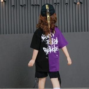 Image 5 - Girls Boys Punk Shirts Purple Hip Hop Clothing for Kids Ballroom Dance Clothing Jazz Children Loose Pants Stage Costume Suits