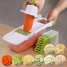 Multifunction Vegetable Cutter Slicer with Stainless Steel Interchangeable Blades Potato Carrot Grater Dicer Kitchen Slicer Tool resin handle stainless steel blades kitchen slicer