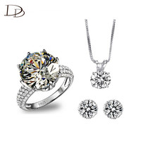 Hot Charming Wedding Bridal Jewelry Set AAA Cubic Zircinia Diamond Luxury Necklace Ring Earrings Parure White