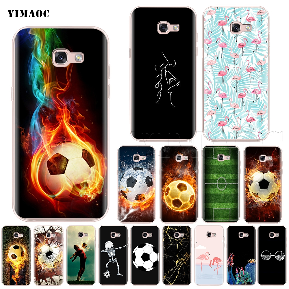 Phone Bags & Cases Yimaoc Fire Football Soccer Ball Silicone Case For Samsung Galaxy S7 S8 S9 Edge Plus J3 J5 J7 A5 A6 A8 Note 8 9 Products Hot Sale Fitted Cases