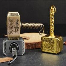 Wiitin thors batalha martelo ficheiro girador à mão feito de metal, 1 peça o chaveiro mighty mjolnir brinquedo-latão antigo