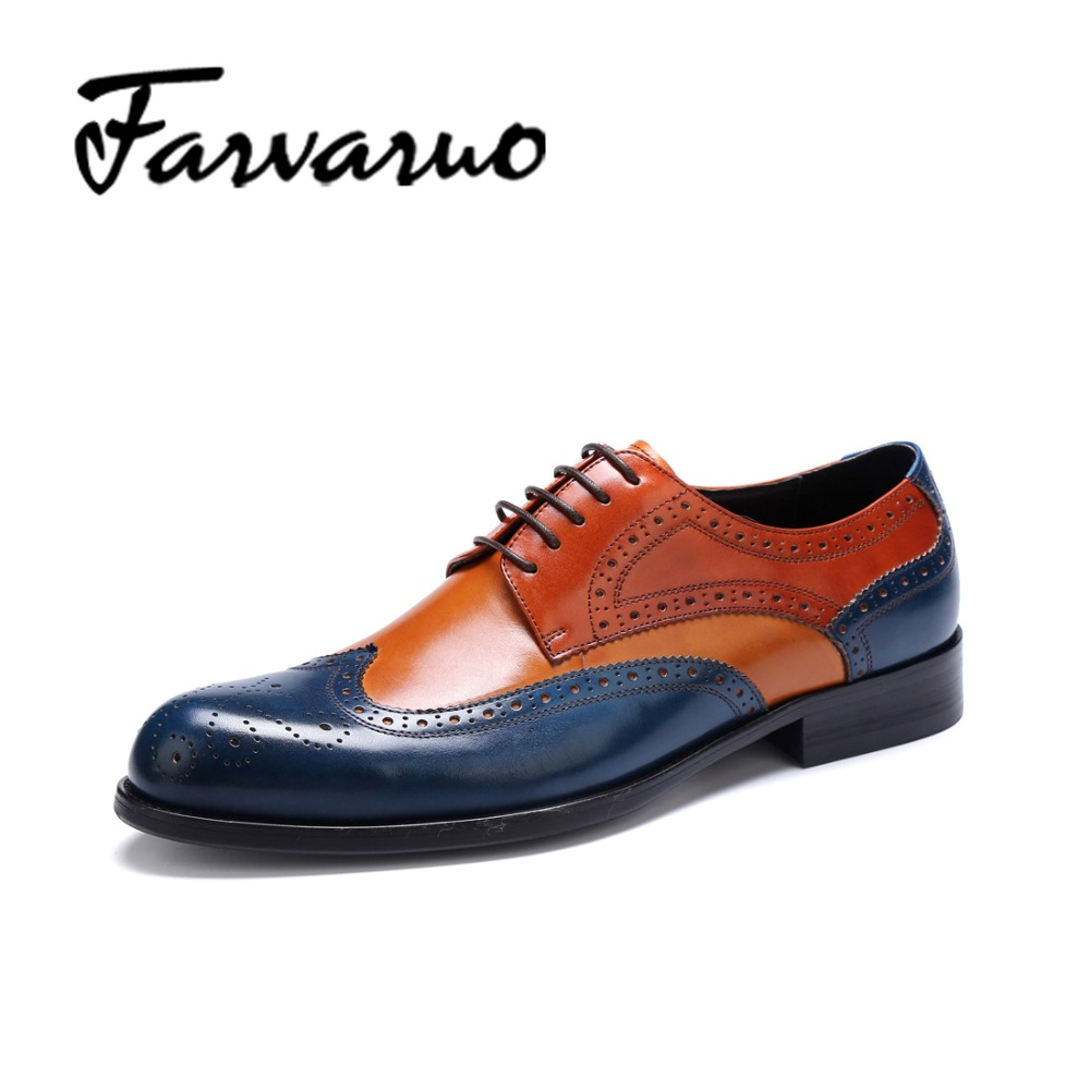 Farvarwo Genuine Leather Lined Wing-Tip Dress Oxfords Brogues Shoes Mens Mixed Colors Business Shoes Men Lcae-up Round Toe Derby top quality england style retro mens cow genuine leather brogue shoes male casual shoes lace up round toe breathable wing tip