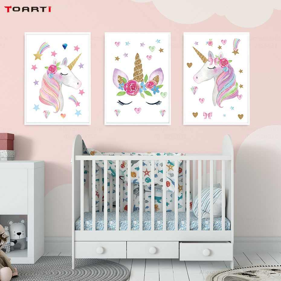 Cartoon wall art poster and print pink unicorn stars canvas painting for kids girl nursery bedroom decor modern wall mural chart