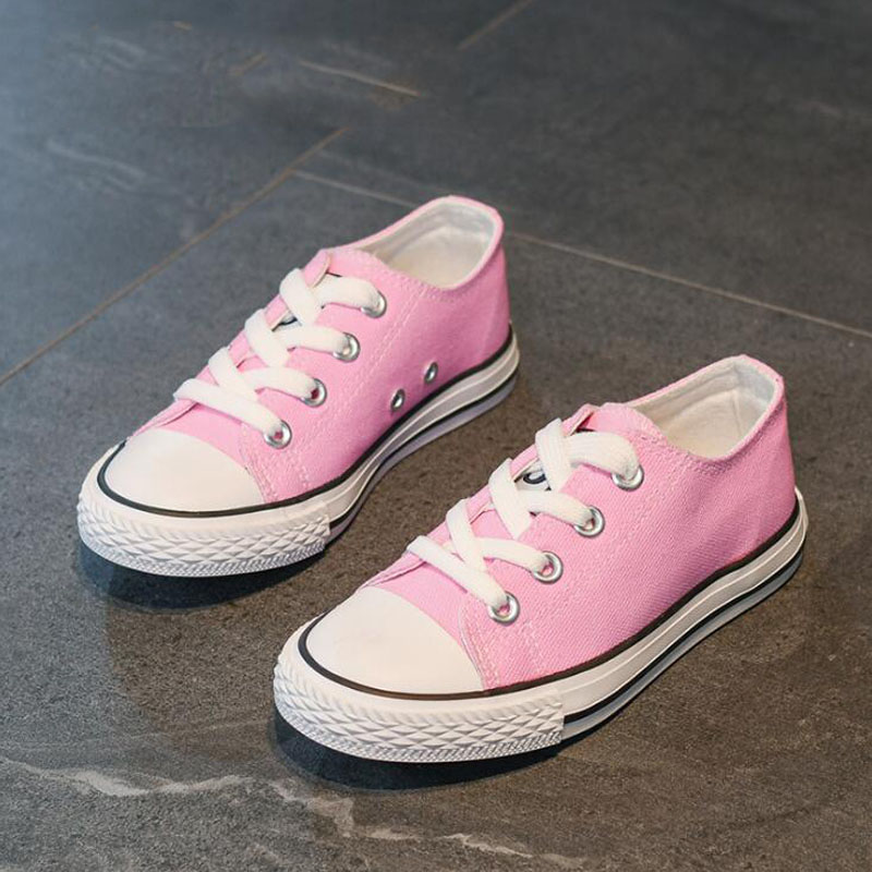 Autumn Popular Children Low-top White Canvas Shoes Boys Causal School Shoes Girls Baby Soft Sole Sneakers Parent-child Style