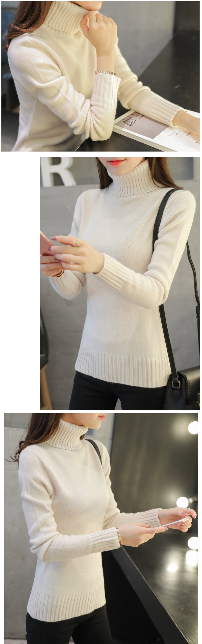 18 New Autumn winter Women Knitted Sweaters Pullovers Turtleneck Long Sleeve Solid Color Slim Elastic Short Sweater Women K861 7
