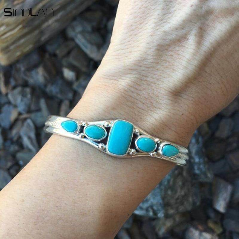 New Bohemian Jewelry Retro Carved Hollow Geometry Water Drops Rectangular Boho Stone National Wind Bracelet For Women