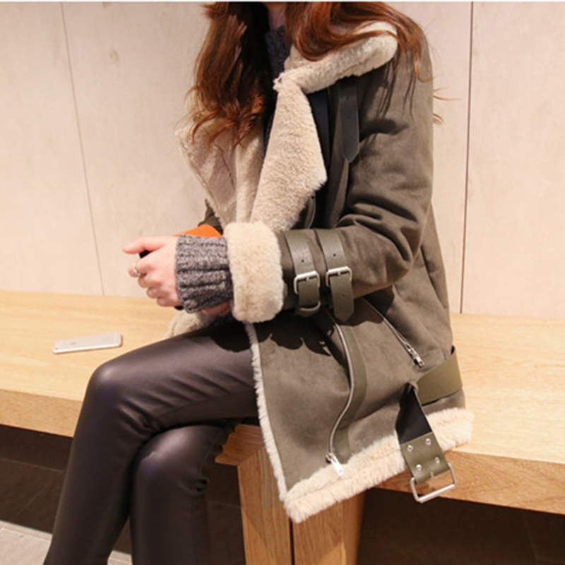 4XL Plus size faux suede leather warm jacket coat Women winter fur bomber jacket 2018 Winter Fashion female coats outwear ...