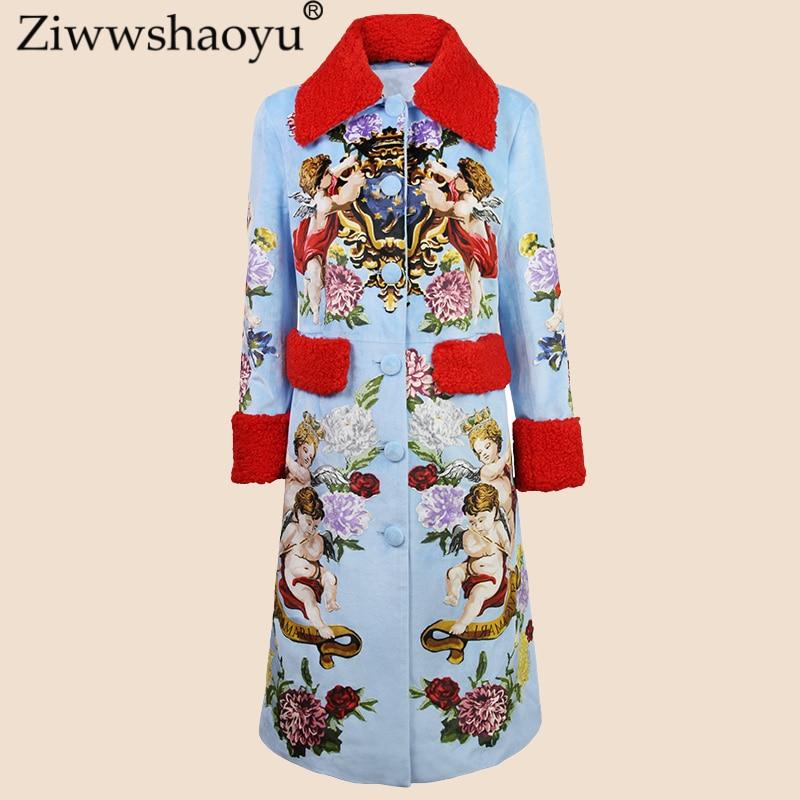 ZiwwshayuEuropeand gli stati Uniti autunno e inverno nuovo Streetwear Gira-giù il Collare di Stampa di Lana cappotto femminile lungo cappotto di trincea