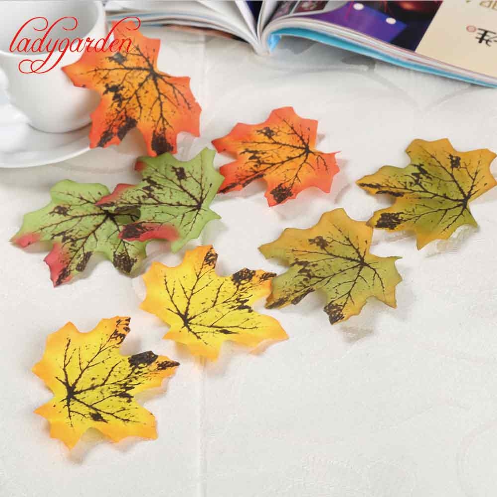 Fake flowers for crafts - 50pcs Fall Silk Artifical Maple Leaves Fake Fall Leaf Art Home Bedroom Wall Book Decor Wedding Party Decoration Craft Flowers