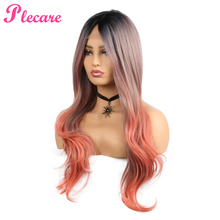 Plecare Ombre Long Synthetic Lace Front Wig 26inches Pruiken For Women Orange Color Type  Hair 150% Density Cosplay