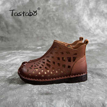Tastabo New openwork ankle boots Flat Genuine Leather Women Shoes Breathable Comfortable Low heel design Non-slip sole