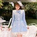 Принцесса сладкий синий шерстяное пальто Конфеты дождь пояса Бинты Кружева Лоб украшение однобортный Сладкий Японский дизайн C16CD6186