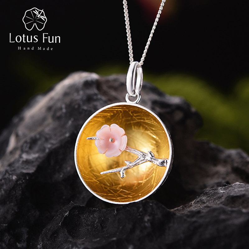Lotus Fun Real 925 Sterling Silver Natural Shell Handmade Fine Jewelry The Aroma of Wintersweet Pendant without Necklace Women lotus fun real 925 sterling silver natural handmade fine jewelry flower the aroma of wintersweet jewelry set for women bijoux