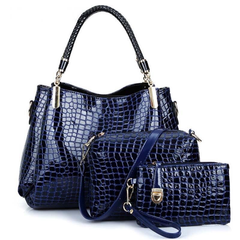 Femmes sac 2019 nouveau motif Crocodile en cuir sacs femmes sacs à bandoulière dames sacs à main et sacs à main de haute qualité noir fourre-tout 3 Set