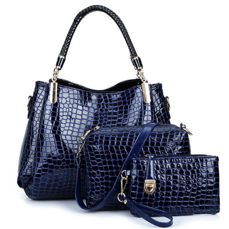 Frauen Tasche 2018 Neue Krokodil Muster Leder Taschen Frauen Schulter Taschen Damen Geldbörsen Und Handtaschen Hohe Qualität Schwarz Tote 3 satz 4