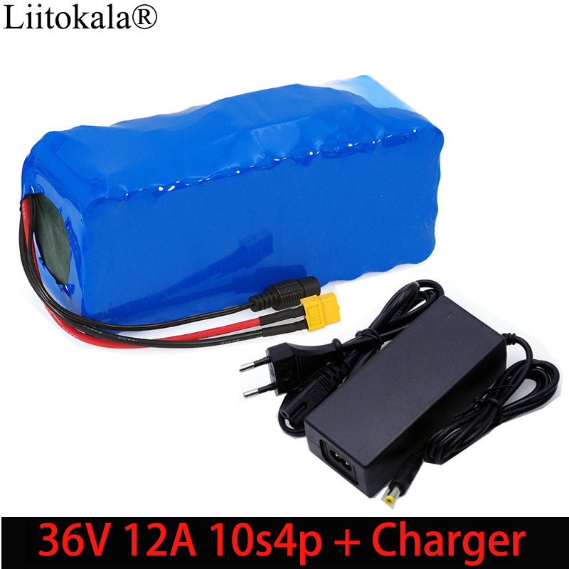 Liitokala 36V 12Ah 10s4p 18650 Li ion Battery pack XT60 plug Balance car Motorcycle Electric Bicycle Scooter BMS+Charger-in Battery Packs from Consumer Electronics