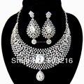 Высокое качество ясно кристалл горного хрусталя родий продвижение большой серьги стержня ожерелье мода африки свадебные ювелирные изделия комплект