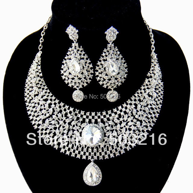 High Quality Clear Crystal Rhinestone Rhodium Promotion Big Stud Earrings Necklace Fashion African Wedding Bridal Jewelry Sets