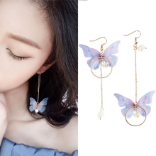 Korean Retro Asymmetric Butterfly Imitation Pearl Earrings Fashion Round Flower Brincos Long Statement Wings Jewelry