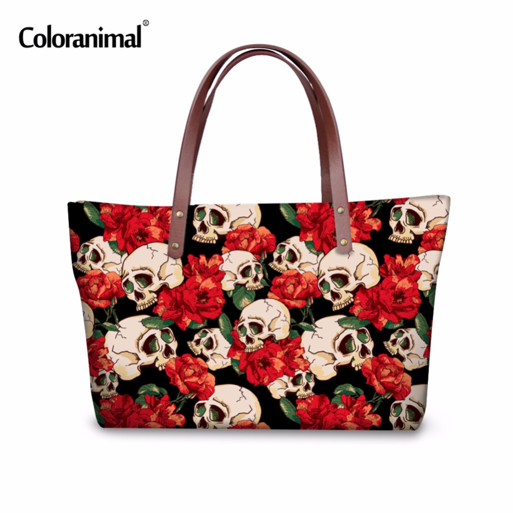 Coloranimal Cartoon Skull Puzzle Print Large Shoulder Bag Famous Design Women Big Shopping Travel Beach Bag bolsa feminina mujer