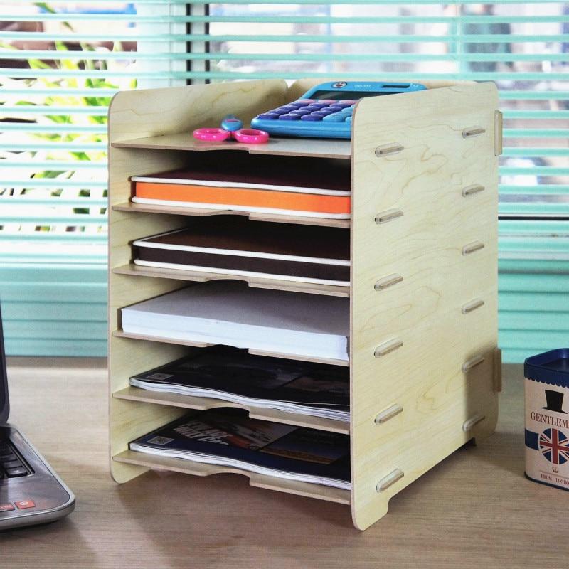 YINUO New Creative DIY Wood Storage Racks 6 Layers Storage Shelf for Sundries Files Stationery Office Organizers