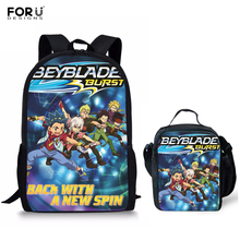 FORUDESIGNS Teenager Boys Beyblade Burst Printing Cartoon Student Schoolbag Set Children Cool Schoolbags Backpack with Lunchbag