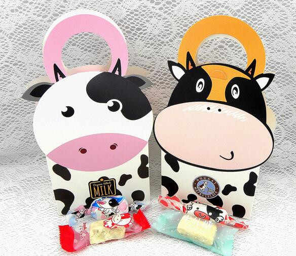10pcs New Cute Cartoon Milk Cow Candy Box cookie package Baby Shower wedding Gift Paper Bag For Children Birthday Party Decor