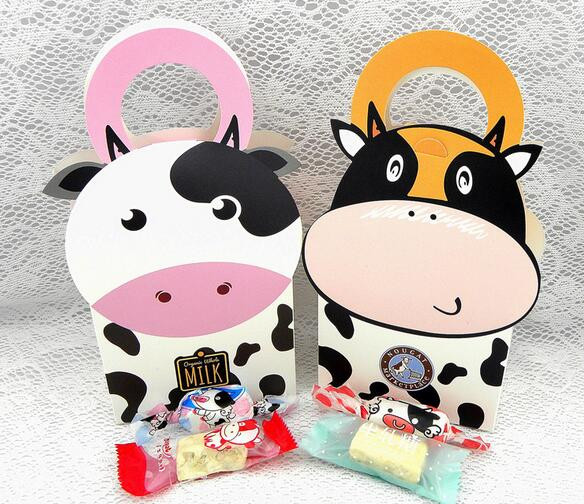 Us 8 79 12 Off 10pcs New Cute Cartoon Milk Cow Candy Box Cookie Package Baby Shower Wedding Gift Paper Bag For Children Birthday Party Decor In