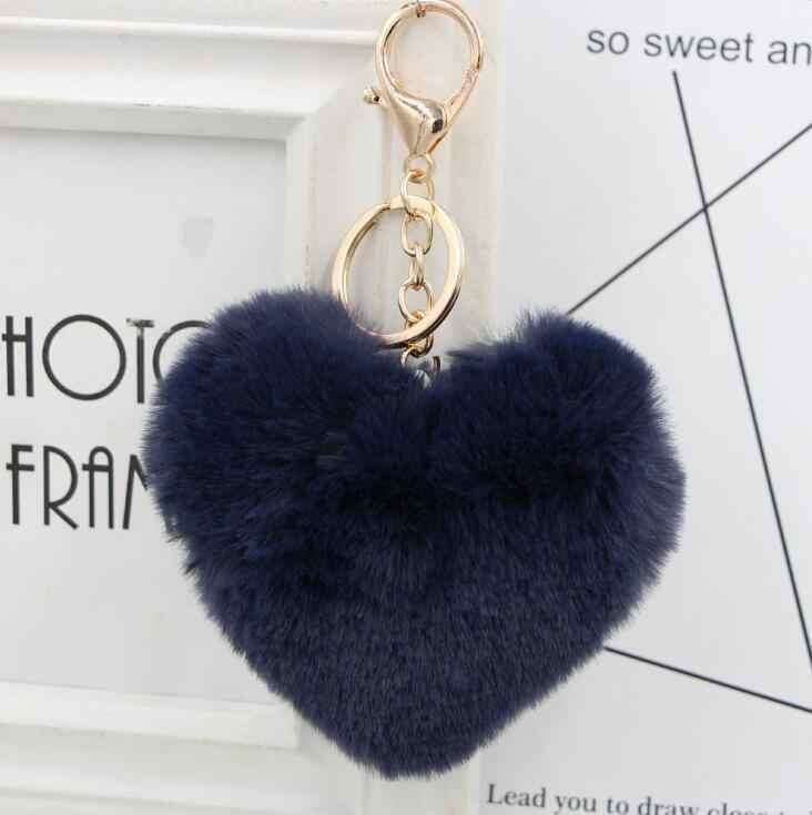 Llaveiro Fluffy pompom พวงกุญแจของขวัญผู้หญิง Heart Shape Pompon ปลอมกระต่าย Key Chain Ball กระเป๋ารถอุปกรณ์เสริม Key แหวน