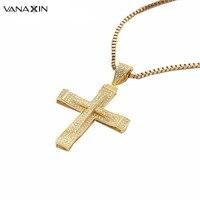Vanaxinシルバー925クロスペンダントネックレス男性高品質aaa czスターリングシルバーゴールドカラーファッションジュエリーパーティー十字架ボックス