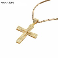 Men Women Hiphop 925 Sterling Silver Cross Pendant Necklace For Vintage Christian Jewelry