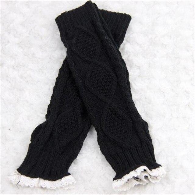 Mujeres del cordón Knit brazo cubre invierno guantes hembra moda ...
