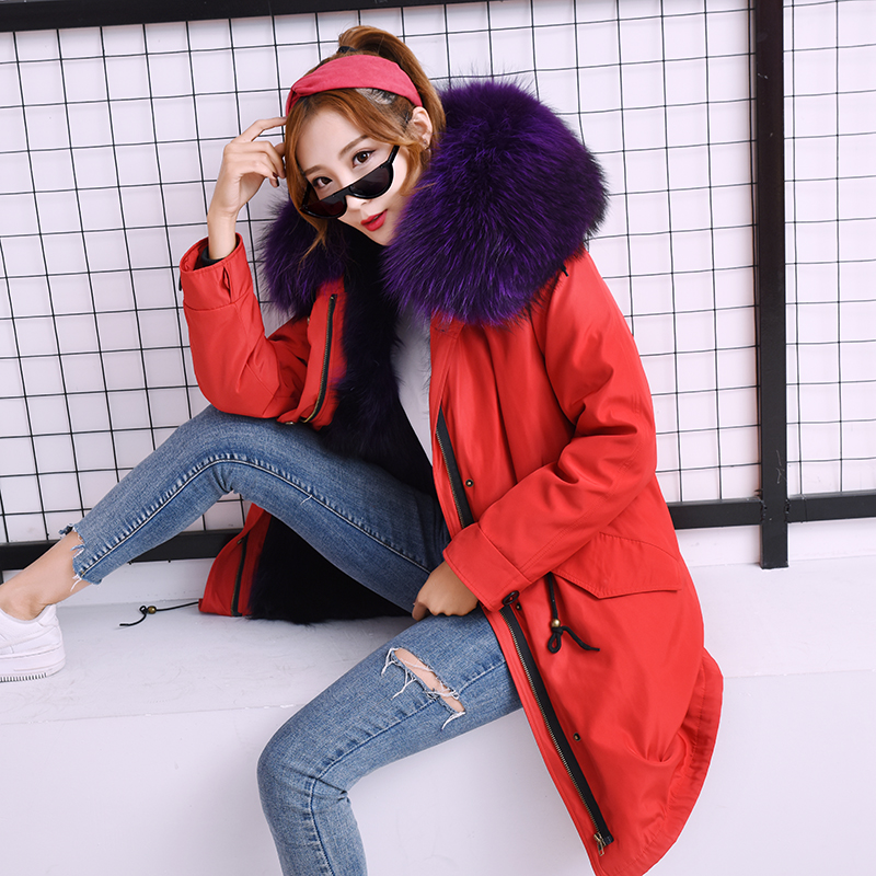 Natural Raccoon Fur Collar Park Women Winter Thicken Fashion Slim Red Shell Jacket Coat Natural Fur Coat Long Warm Jacket Female
