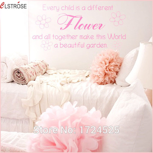Clstrose Real Diy Home Decor Every Child Is A Flower Wall Stickers