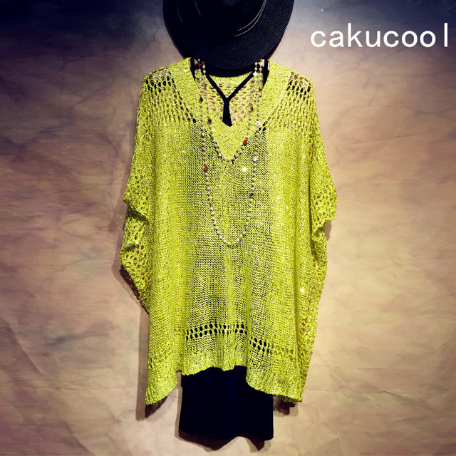 Cakucool Summer Women Sequined Thin Sweaters Knit Pullover V-neck Short Sleeve Hollow Out Jumpers Casual Loose Shirt Top Female