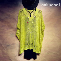 Cakucool Summer Women Sequined Thin Sweaters Knit Pullover V neck Short Sleeve Hollow Out Jumpers Casual Loose Shirt Top Female