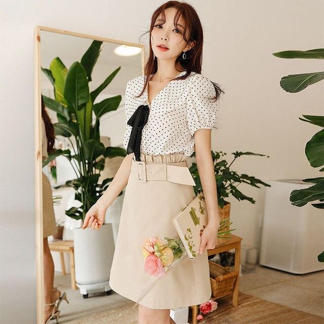 Dabuwawa Women Summer Elastic High Waist Skirts 2019 New Office Lady Elegant A-Line Short Skirts with Waist Belt DN1BSK003