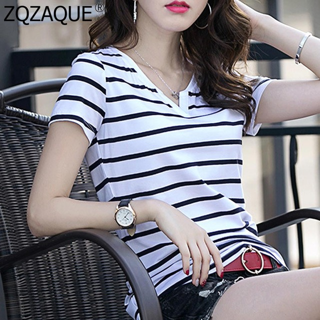 f8ad37379ddff6 Oversize XXXXL Women's Summer Simple Style Striped T-shirts Casual Girls  V-neck Short-sleeved Tees Trendy All-match Tops SY1117