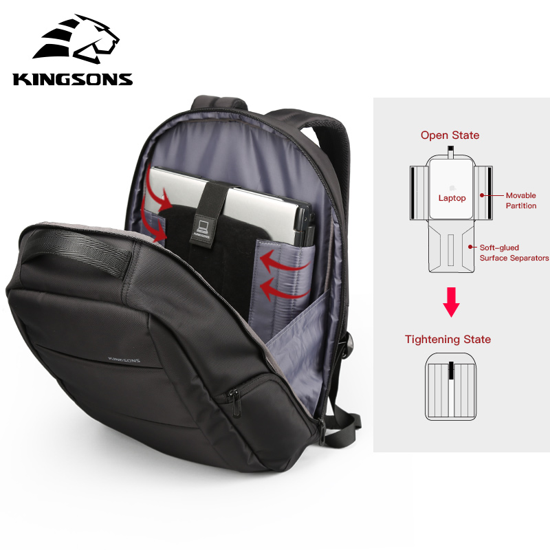 Kingsons USB External Charger Laptop Function Backpack Anti-theft Business Man Dayback Woman Travel Bag 15.6 Inch external charging usb function laptop backpack anti theft man business dayback women travel bag 15 6 inch