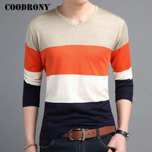 COODRONY Mens Sweaters 2018 Autumn Cotton Pullover Men Casual V-Neck Thin Sweater Men Striped Long Sleeve Shirt Pull Homme 8221(China)